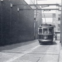 "Image of B+W photo of Public Service streetcar 3585 with ""Grove"" destination sign, Hoboken(?), July 8, 1938 - Print, Photographic"