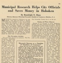 Image of Article: Municipal Research Helps City Officials and Saves Money in Hoboken. From: The American City Magazine, Aug.1926, pp. 209-212. - Documents