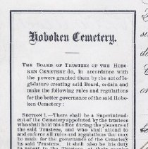 Image of detail deed front left column: Hoboken Cemetery rules & regulations
