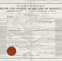 Image of Hoboken Cemetery plot deed of Herman L. Timken, Feb. 8, 1876. With 1928 sale documents. - Deed