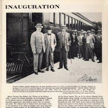 Image of pg 13: Inauguration; photo Hoboken. Thomas Edison et al, Sept 3, 1930