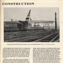 Image of pg 3: Construction; photo work in Hoboken terminal yard on catenary bridge