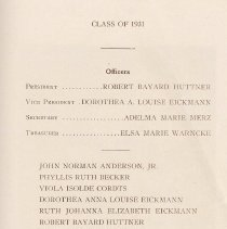 Image of pg 23:list of sophomores, Class of 1931 officers & members