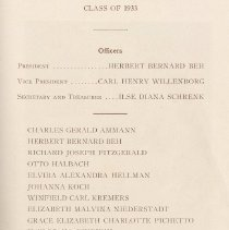 Image of pg 29: list of sub-freshmen, Class of 1933 officers & members