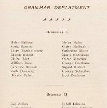 Image of pg 33: list of students, Grammar Department, Grammar I to III