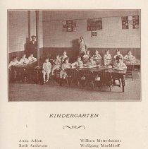 Image of pg 35: list of students, Kindergarten; photo of kindergarten
