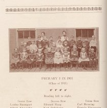 Image of pg 46: Primary I in 1901, Class of 1911; photo and list of members