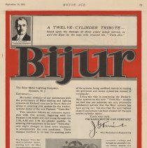 Image of Ad, magazine: Bijur Motor Lighting Co., Hoboken, N.J.; Motor Age, Sept. 16, 1915. - Ad, Magazine