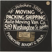 Image of Advertising sign artwork for Auto Moving Van Co., 519 Washington St. Hoboken. No date, circa 1922-1929. - Drawing
