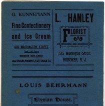Image of back cover: ads G. Kunnemann; L. Hanley; Louis Behrmann, Elysian House