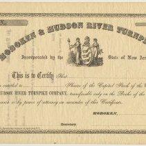 Image of Stock certificate: Hoboken & Hudson River Turnpike Co., Hoboken, 185_, unissued blank form, ca. 1857-1859. - Certificate, Stock