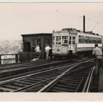 Image of B+W photo of trolley car 2808 with signs about & on last full day of use, Hoboken, Aug. 6, 1949. - Print, Photographic