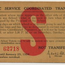 Image of Student pass for Public Service Coordinated Transport, Donald Eisen, Stevens Hoboken Academy, 1953-1954. - Pass