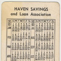 Image of Pocket calendar for 1956 from Haven Savings and Loan Association, 41 Newark St., Hoboken. - Calendar