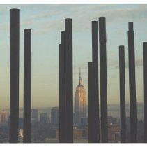 Image of Color photo of pilings for Pier C Park with New York City in the background, Hoboken, Jan. 2008. - Print, Photographic