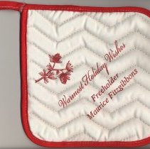 "Image of Political advertising item: holiday potholder imprinted ""Warmest Holiday Wishes. Freeholder Maurice Fitzgibbons."" - Potholder"