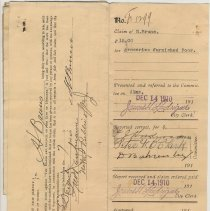 Image of City of Hoboken documents: Paid Alms Claims, Dec. 14, 1910 - April 26, 1911. - File, Document