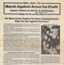 Image of Handbill: March Against Arson-for-Profit. Sat. Nov. 14 (1981.) - Handbill