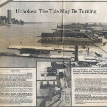 "Image of Newspaper articles: ""Hoboken: The Tide May Be Turning."" & ""Dining Down on the Riverside."" NYT, July 10, 1983. - Clipping, Newspaper"
