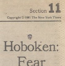"Image of Articles: ""Hoboken: Change Bringing Problems."" & ""Hoboken: Fear of Fire Haunts Many."" NYT, Nov. 8, 1981. - Clipping, Newspaper"