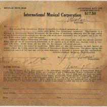 Image of Receipt from the International Musical Corporation, Hoboken, N.J. for a ukelin, Paid in Full, June 25, 1929. - Receipt