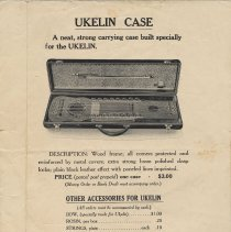 Image of Ukelin, priced promotion sheet for hard case and accessories