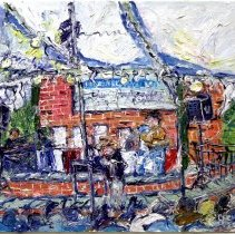 Image of The Great Hoboken Auction, April 2008. Painting in oil on canvas by Chris Kappmeier. - Painting