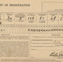 Image of Report on Registration, Public School No. 7, Division [Local Board] #1, Hoboken, N.J., no date (Sept. 1918.) - Report
