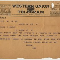 Image of Telegram to Edward J. Sharkey, Hoboken from Gilkyson, Acting Adjutant General, n.d., ca May-July 1917 re organization of District Board Div. 1. - Documents
