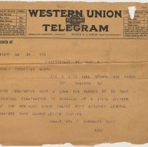 Image of Telegram to Draft Exemption Board, Div. 1, Hoboken from N.Y. State Police, n.d., ca 1917-1918 re physical exam of civil officer who is Hoboken resident. - Documents