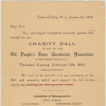 Image of Doc 2, front: Invitation to Charity Ball, Feb. 12, 1903
