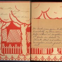 Image of front endpapers with inscription; enclosure