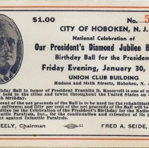 Image of Tickets, 3, to President Frankin D. Roosevelt birthday balls at Union Club, Hoboken, 1942-1944. - Ticket