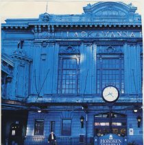 Image of pg [58] photo Lackawanna (Hoboken) Terminal north entrance with clock/sign