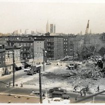 Image of Digital images, 2, of b+w photos of demolition at northern end of the block south of Sixth St. between Clinton & Grand Sts., Hoboken, ca. 1963. - Print, Photographic