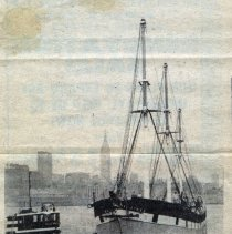 Image of News column with photo of Wavertree arriving in Hoboken, June 1981. - Clipping