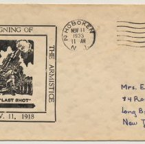 Image of First day cover: 15th Anniversary, Signing of the Armistice, Nov. 11, 1918. Postmarked Hoboken, Nov. 11, 1933. - Cachet, Postal