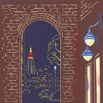 Image of Art: View from the Museum. Cut-paper artwork by Hiro Takeshita, Hoboken, 2009. - Picture, Cut-paper