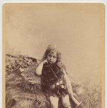 """Image of Cabinet photo of young boy in Teutonic costume; imprinted: """"Alvary, Jr., as Siegfried."""" Dimmlers, Hoboken, n.d., ca. 1880-1891. - Photograph, Cabinet"""