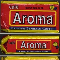 Image of Bag: Cafe Aroma Premium Expresso Coffee; made by Aroma Coffee Co., Hoboken, N.J., 2009. - Bag