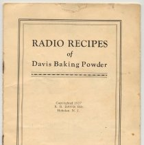 Image of Booklet: Radio Recipes of Davis Baking Powder. R.B. Davis Co., Hoboken. N.J. 1927. - Booklet