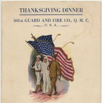 Image of Menu: Thanksgiving Dinner. 301st Guard &  Fire Co., Q.M.C., U.S.A. U.S. Army Piers, Hoboken, N..J., Nov. 28, 1918. - Menu