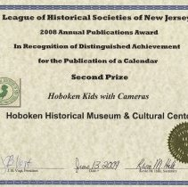 Image of certificate 2: Second Prize, Calendar 2008, Hoboken Kids with Cameras