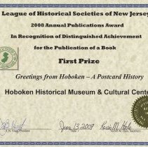 Image of certificate 3: First Prize, Book, Greetings from Hoboken