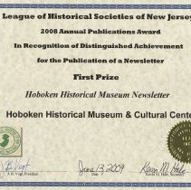 Image of certificate 4: First Prize, Newsletter, 2008-2009 HHM newsletter