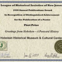Image of certificate 5: First Prize, Poster, Greetings from Hoboken