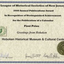 Image of certificate 1: First Prize, Calendar 2009, Greetings from Hoboken
