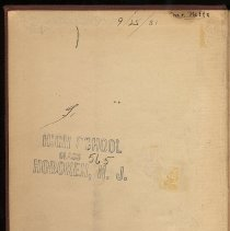 Image of front pastedown with High School stamp