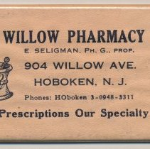 Image of Pocket mirror advertising Willow Pharmacy, 904 Willow Ave., Hoboken, no date, ca. 1950-60. - Mirror, Hand