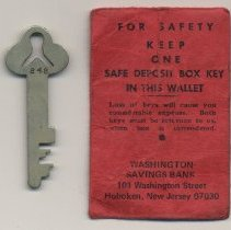 Image of Key for safe deposit box at Washington Savings Bank, 101 Washington St., Hoboken, n.d., ca.1975-1995. - Key, Safe Deposit